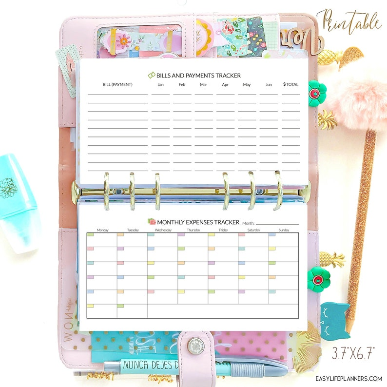 BUDGET Planner Personal Filofax Inserts 3.7 x 6.7 inches. image 0