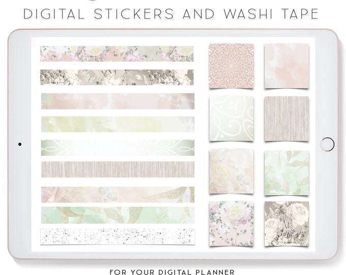Digital Stickers for iPad, Goodnotes stickers, Stickers for Digital Planner, Digital Washi Tape Clipart