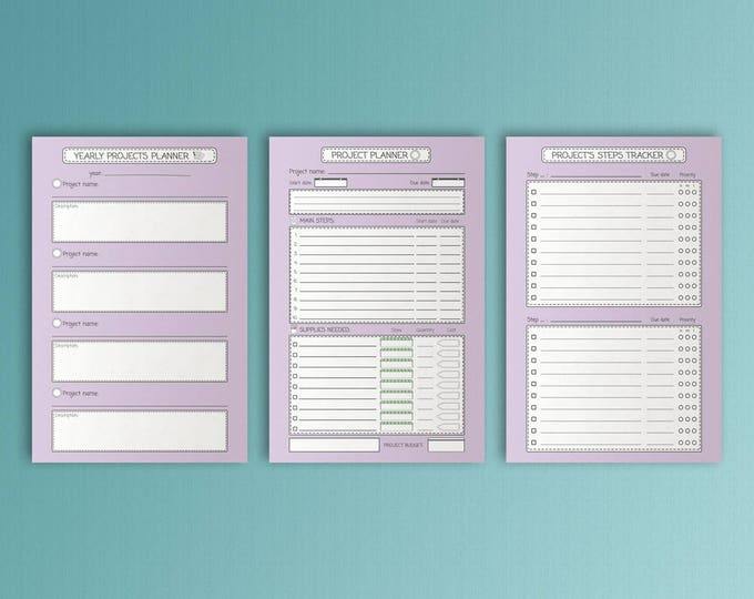 Mini Happy Planner Inserts Project Planner Mambi Mini Happy Planner Printable Project Inserts Purple PDF Task Tracker Mini Instant Download