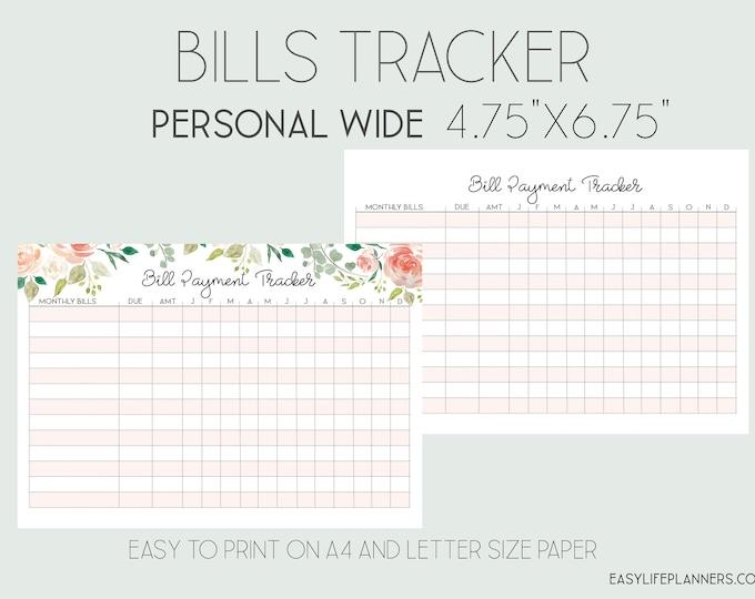 Bills Organizer Personal Wide Rings, Budget planner Printable, Personal Wide Printable.