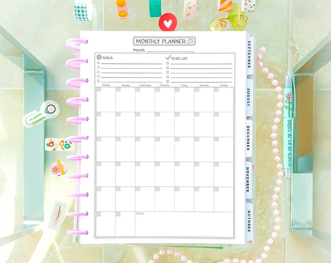 Monthly Planner Printable made to fit Big Happy Planner Inserts Monthly Goals Monthly Agenda