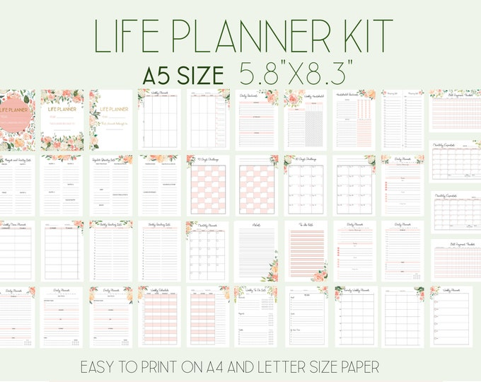 Life Planner Pages A5 Printable Planner Inserts, Filofax A5 Refills, Daily Planner 2021