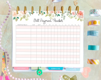 Bills Organizer made to fit Classic Happy Planner Inserts Printable, Budget Planner 7 x 9