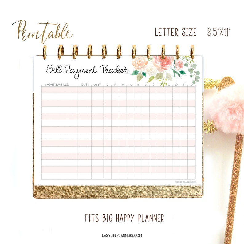 Bill Tracker Printable Letter Size planner Monthly budget image 0