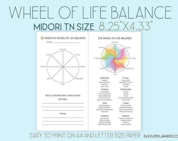 Midori TN Insert, Printable Travelers Notebook Inserts, Life balance Wheel