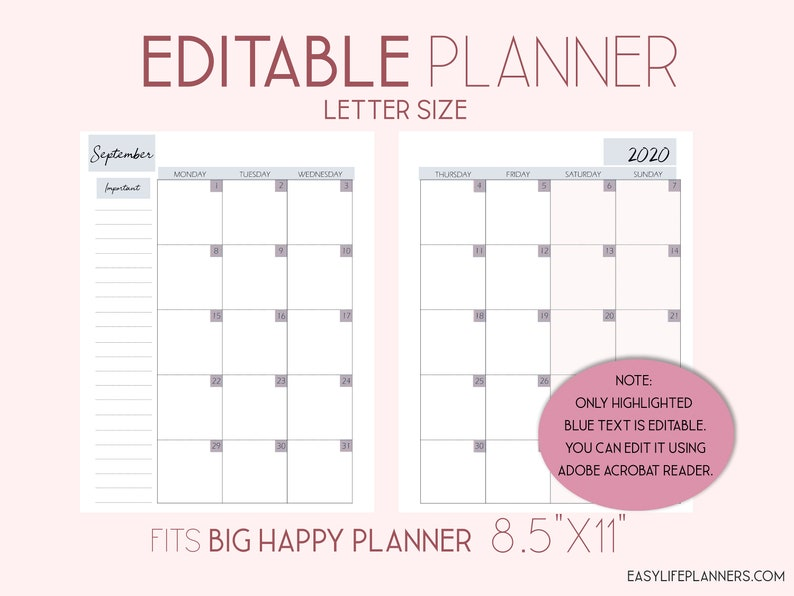Editable Planner 2020 Monthly Planner Pages Monthly Layout image 0