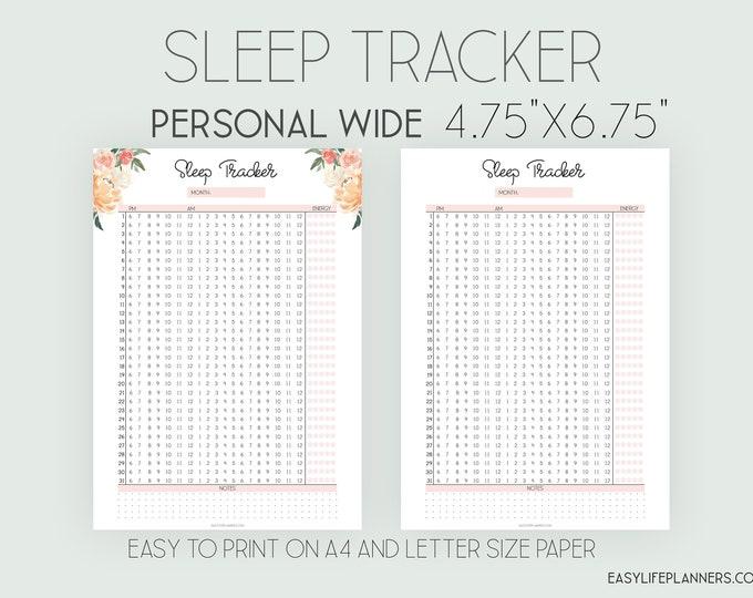 Sleep Log, Sleep Tracker, Personal Wide Printable, Personal Wide Rings.