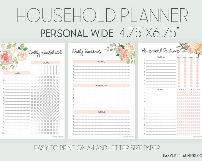 Household Planner Personal Wide Rings, Cleaning List, Personal Wide Printable.