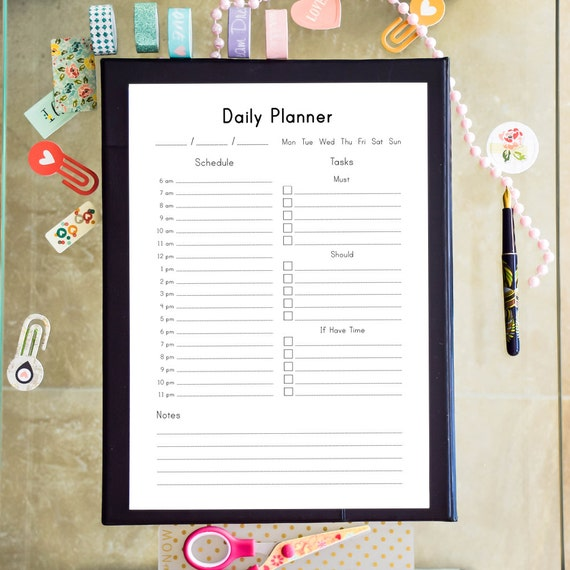 daily planner printable daily schedule desk planner family etsy