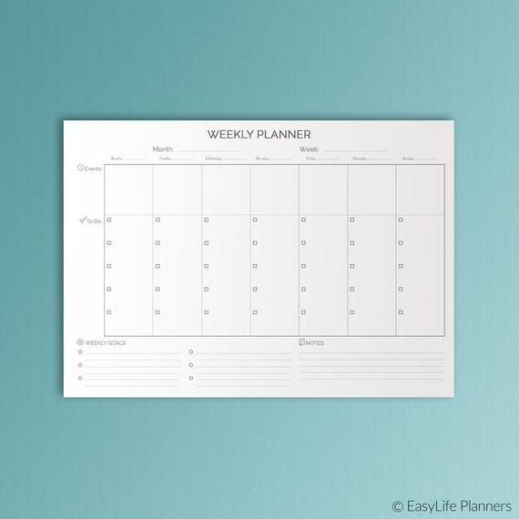 Weekly Planner Pages Black And White Printable Desk Pad Weekly Etsy