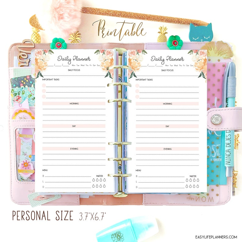 Daily Planner Pages Filofax Personal Size Planner Inserts image 0
