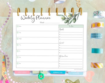 Weekly Planner Pages, Weekly Agenda, Made to fit Happy Planner Inserts Printable