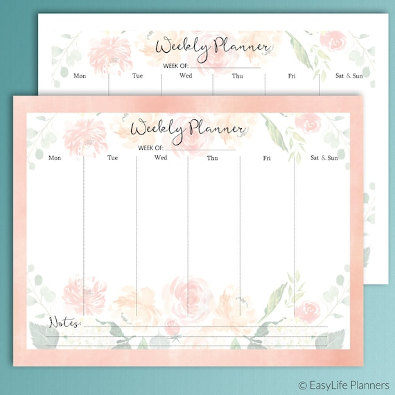 Weekly Planner Pages Floral Planner Printable Letter Size Etsy