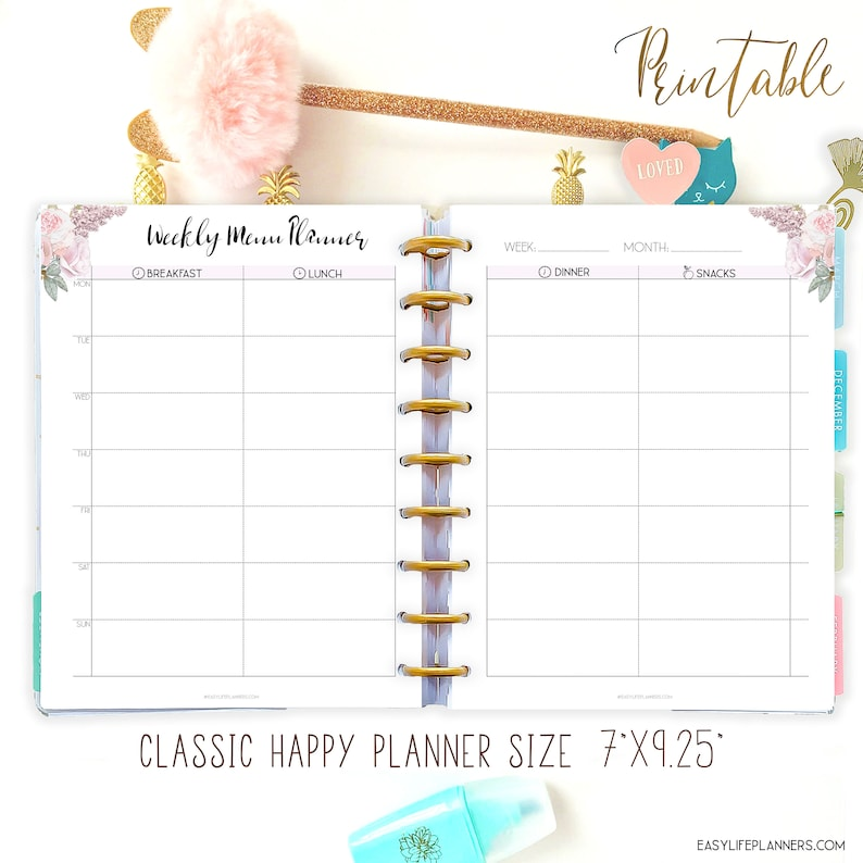 Weekly Meal Planner Printable Grocery List made to fit Happy image 0