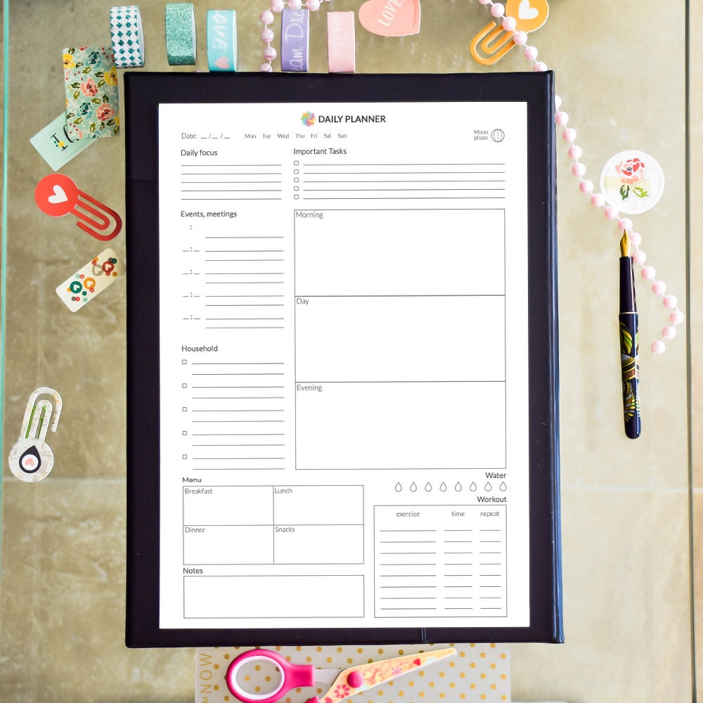 picture relating to Full Focus Planner Pdf Download identify Each day Planner Printable Towards Do listing Binder inserts, Each day