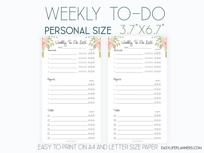 Weekly Organizer Wo2p Personal Filofax Inserts Weekly To Do image 0