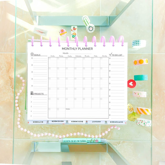 Monthly Planner Big Happy Planner Printable Lined Letter Size Etsy