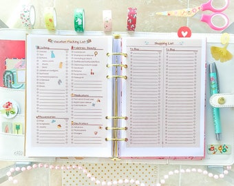 VACATION PLANNER A5 Filofax Inserts Printable Refills A5 Sized Planner Packing Shopping List Printable pdf Travel organizer