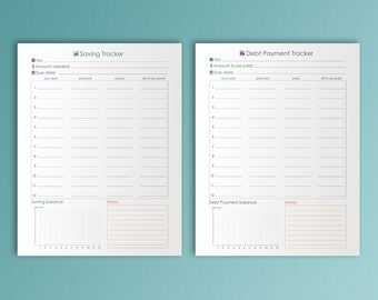 Savings Tracker Letter Size Debt Payoff Tracker Worksheet Budget Debt Snowball Printable Debt Payoff Plan Savings Planner. Instant Download