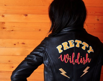 Pretty Wildish Jacket - ONE OFF - Hand Painted Faux Leather Jacket