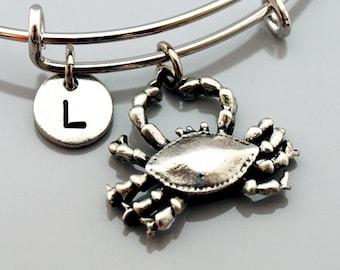 Crab charm Bangle, Crab charm bracelet, large crab, Expandable bangle, Personalized bracelet, Charm bangle, Monogram, Initial bracelet