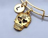 Skull heart eyes, Sugar skull, heart eyes skull, Calavera bracelet, Calavera bangle, Expandable bangle, Personalized bracelet, Charm bangle