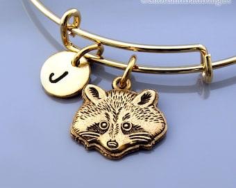 Raccoon bangle, Raccoon bracelet, Gold Raccoon, Expandable bangle, Personalized bracelet, Charm bangle, Monogram, Initial bracelet