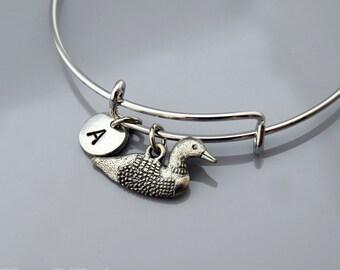 Loon bangle, Loon bracelet, Divers, Silver loon charm, Expandable bangle, Personalized bracelet, Charm bangle, Monogram, Initial bracelet