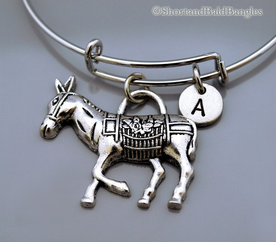 4 Donkey charms antique silver tone A9