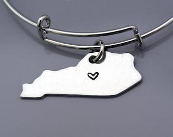 Kentucky bangle, Kentucky State Map charm, Kentucky State Silhouette, Kentucky US map, Long Distance Relationship, Best friends bangles