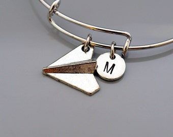 Paper Airplane bracelet, Paper Airplane bangle, Jet, plane, pilot, air plane, Expandable bangle, Charm bangle, Monogram, Initial bracelet