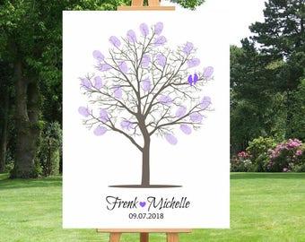 Thumb Print Wedding Tree Guest Book | Fingerprint Wedding Tree | Guest Book Alternative | Canvas Art | Personalized Guestbook - 41677B
