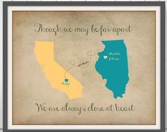 Long Distance Mom Gift | Wall Art Canvas | Gifts For Mom | Godmother Gift | Retirement Gift For Woman | Miles Apart Close At Heart - 49377