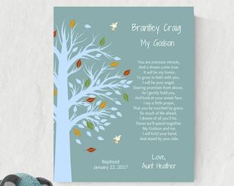 Godchild Gift   Baptism Print   Gift For Godson   Christening Keepsake   Personalized Godchild Gift - 24977