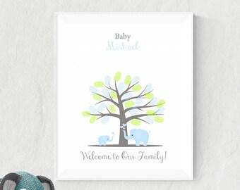 Baby Boy Shower Decoration | Elephant Baby Shower | Nursery Wall Art | Fingerprint Tree Guest Book Alternative | Thumbprint Tree - 47277