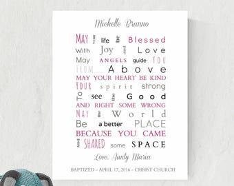 Personalized Gift For Goddaughter | Christening Print | Baptism Gift For Girls | Baptism Sign | Godchild Gift | Goddaughter Print - 44677