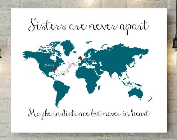 birthday gift sister in law gift sister gifts long distance unique gifts for sister christmas present canvas print map 54877 - Gifts For Sister Christmas