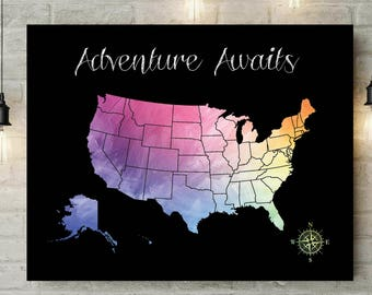 Personalized Gift Map | Christmas Gift | Travel US Map | Gift For Boyfriend | Anniversary Gift For Parents | Adventure Awaits - 51177