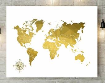 Signature World Map | Geometric Gold Print | Push Pin Travel Map | World Map Canvas | Wedding Guest Book Map | Gold Anniversary Gift - 49977