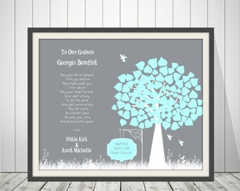 Personalized Christening Tree Gift   Baptism Gift For Godchild   Godchild Keepsake   Godson Baptism Gift -60777