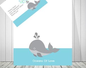 Nautical Baby Shower | Baby Whale Print | Baby Boy Shower Decoration | Nursery Wall Art | Fingerprint | Baby Shower Guest Book - 50677
