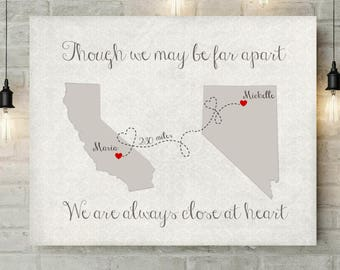 Grandparent Gift | Moving Gift | Grandparents Art | Miles Apart But Close At Heart | Damask | Map Art Print | Gift For Mom - 53577