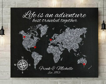 Wedding Gift For Couple | 25th Anniversary Gift | Silver Anniversary | World Map Wall Art | Gift For Parents | Push Pin Map  - 69877