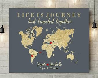 Life Is Journey Map   World Map Art   Push Pin Travel Map   Signature World Map   Canvas Art   Anniversary Gift For Husband - 55277