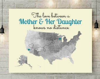Long Distance Mother Daughter Gift | Mom Gifts | Daughter Gift For Mom | Art Prints | Mom Gift From Daughter | Mother Daughter Gift - 70077B