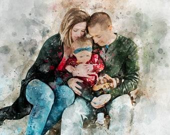 wedding WATERCOLOR family Portrait parents self-portrait custom-made family portrait children/'s portrait portrait by photo
