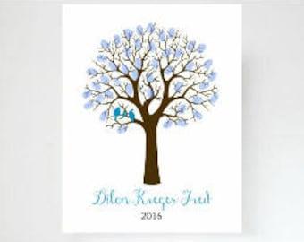 Fingerprint Tree Baby Shower Guest Book Alternative | Thumbprint Tree | Nursery Wall Art | Guest Sign In Tree | Nursery Baby Shower - 51477