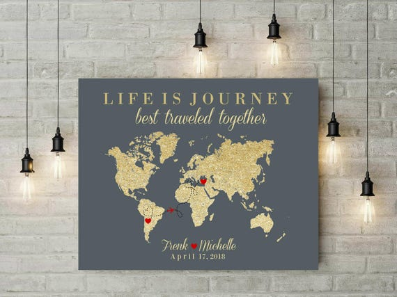 Life Is A Journey Map | World Map Art | Push Pin Travel Map | Signature World Map | Canvas Art | Anniversary Gift For Husband   55277 by Etsy