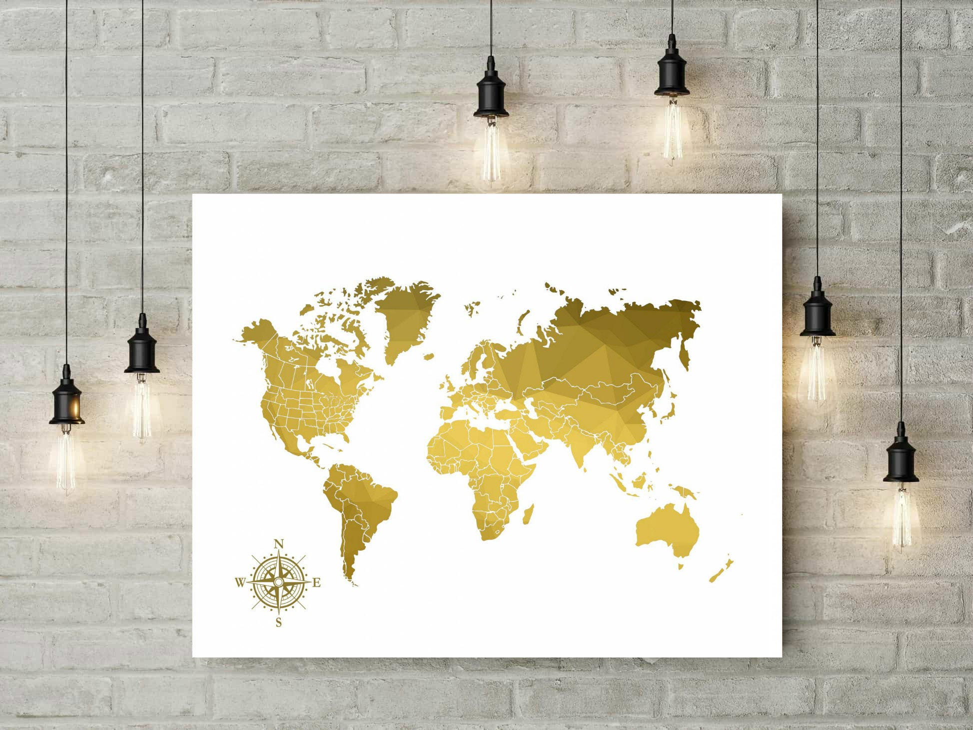 Signature world map geometric gold print push pin travel map signature world map geometric gold print push pin travel map world map canvas wedding guest book map gold anniversary gift 49977 gumiabroncs Gallery