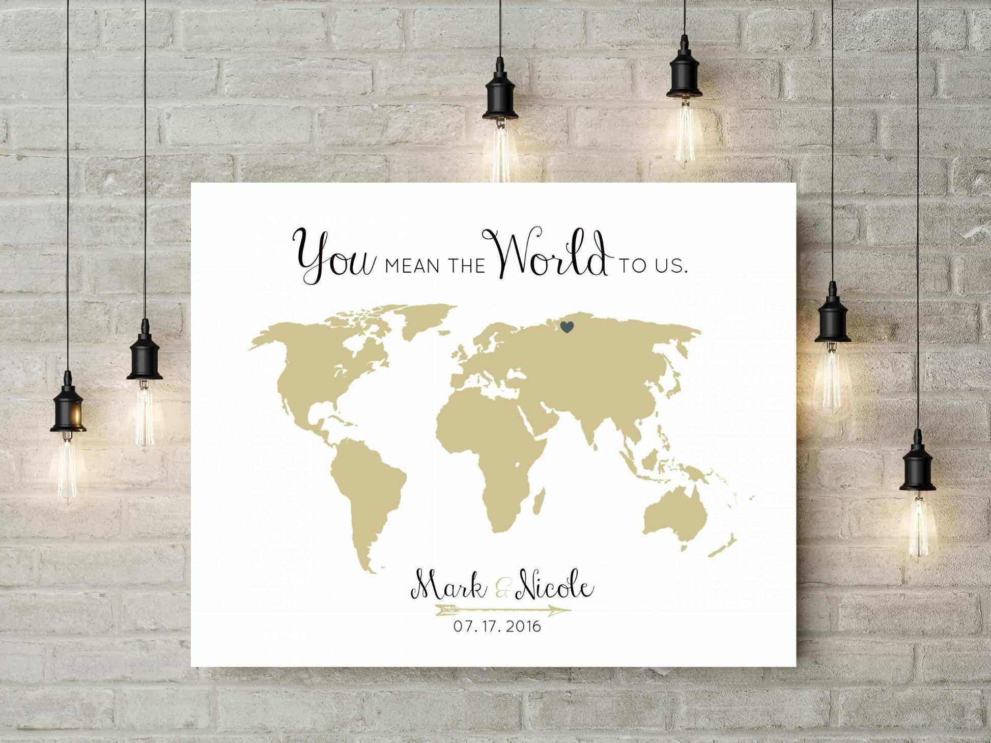 Alternative Wedding Guest Book | Canvas Guest Book | World Map ...